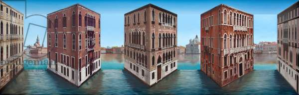 Floating Palazzi, 2015-2016 (oil and photographic collage on board construction)
