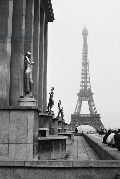 Eiffel Tower from the Palais de Chaillot, 1981 (b/w photo)