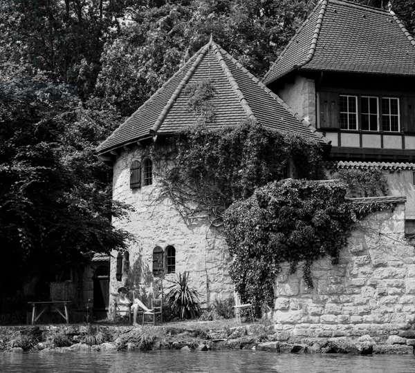 C.G. Jung's house at Bollingen on Lake Zurich, Swizterland (b/w photo)