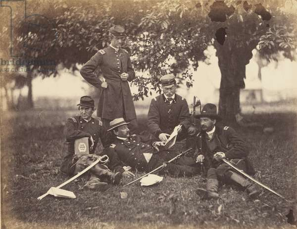 Studying the Art of War, scene at Fairfax Court-House, June, 1863 (albumen print mounted on wove paper)