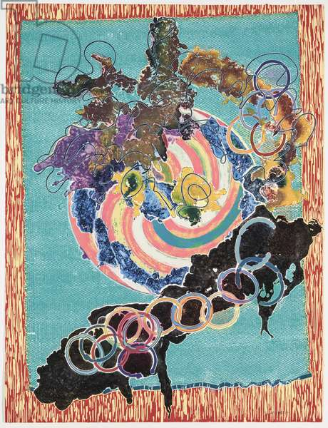 Juam, State I, 1997 (hand coloured relief, woodcut, etching & aquatint on paper)