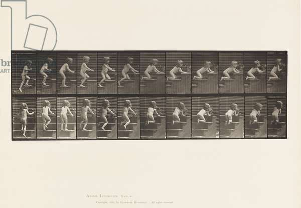 Plate 474. Child, Walking Upstairs, Kneeling, Reaching for Vase, 1885 (collotype on paper)