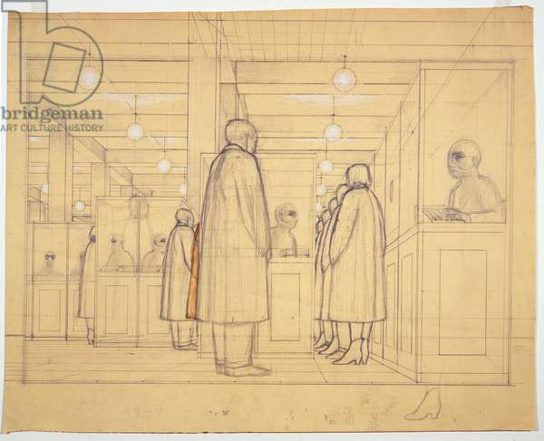 """Study for """"Government Bureau"""", 1956 (graphite, chalk and wash on paper)"""