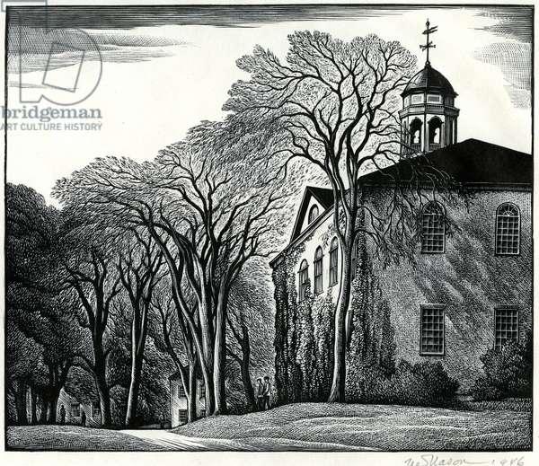 Bulfinch Hall, 1946 (wood engraving)