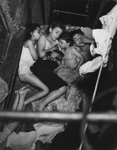 Children Asleep on Fire Escape, c.1943 (vintage gelatin silver print on double weight paper)