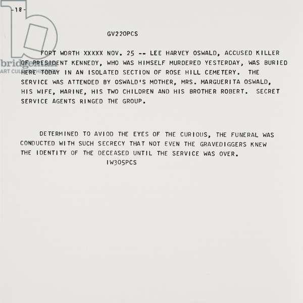 Flash-November 22, 1963, 1968 (screenprint with Teletype text)
