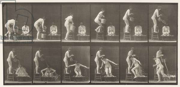 Plate 406. Two Models, 8 Pouring Bucket of Water Over 1, 1872-85 (collotype on paper)