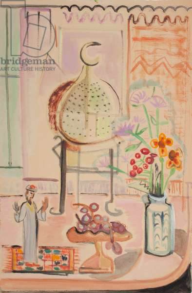 Untitled (Still Life - Flowers right, Man on Rug Left) (oil wash on wove paper)