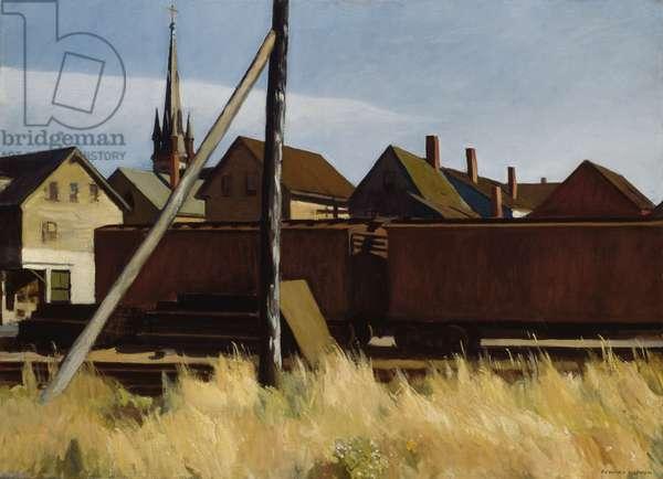 Freight Cars, Gloucester, 1928 (oil on canvas)