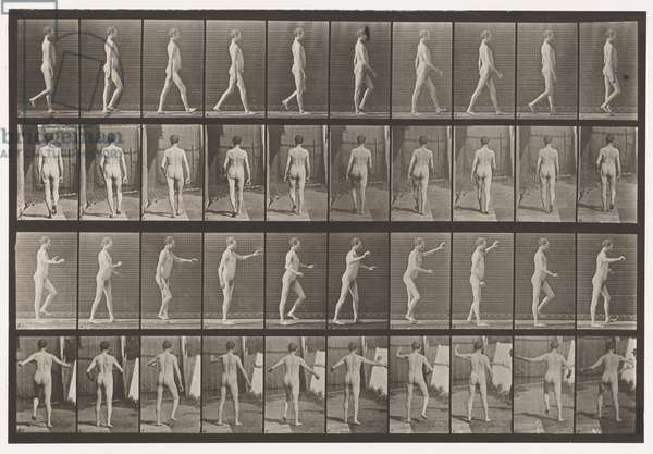 Plate 550. Locomotor Ataxia; Walking; A, Arms Down; B, Arms Up, 1885 (collotype on paper)