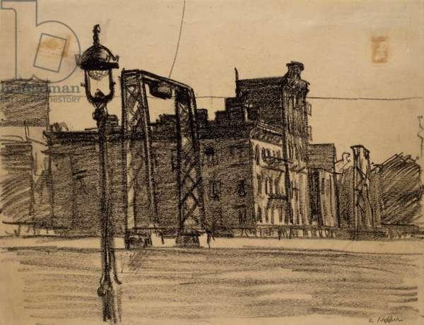 "Study for ""Manhattan Bridge Loop"", c.1928 (black crayon on wove paper)"