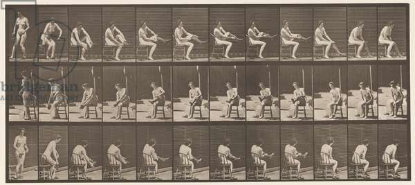 Plate 418. Toilet, Sitting and Putting on Stockings, 1872-85 (collotype on paper)