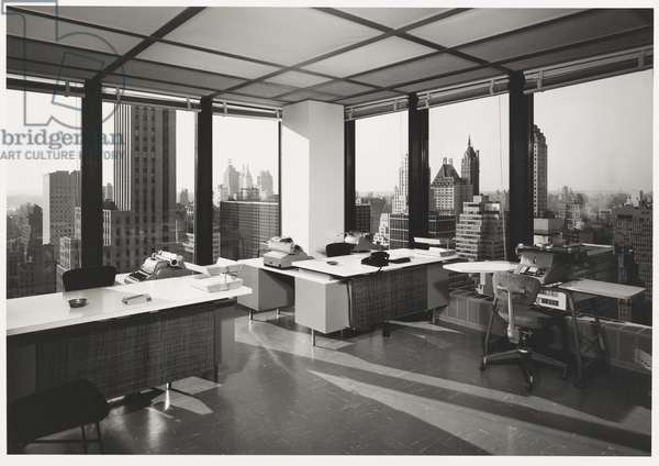 Seagram Building Interior, New York City; Architects: Ludwig Mies Van Der Rohe with Philip Johnson and Kahn and Jacobs, 1958 (gelatin silver print)