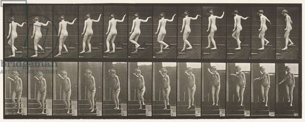 Plate 132. Descending Stairs, Turning to Look Around & Waving Hand, 1872-85 (collotype on paper)