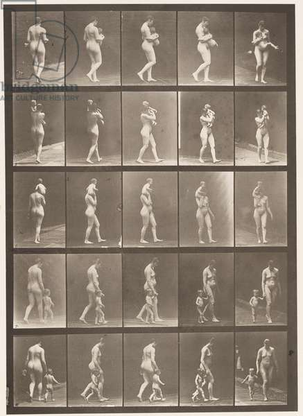 Plate 528. A,B,C, 1 Carrying Child 104; D, Walking with Child 104, 1872-1885 (collotype on paper)