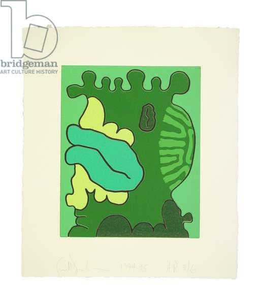 Second Green Reduction Print, 1994-95 (reduction linoleum cut on Twinrocker handmade paper)