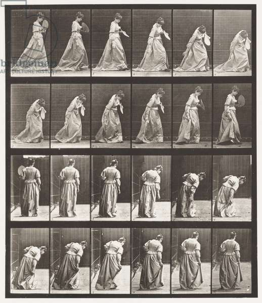 Plate 210. Stooping and Lifting A Dress; Fan in Left Hand, 1885 (collotype on paper)