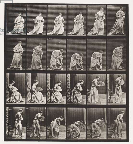 Plate 250. Rising from Chair, Stooping and Lifting Hand-kerchief, 1885 (collotype on paper)