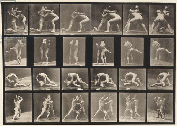 Plate 520. A, 98 and 100 Wrestling; B, 98 and 100 Wrestling, 1872-85 (collotype on paper)