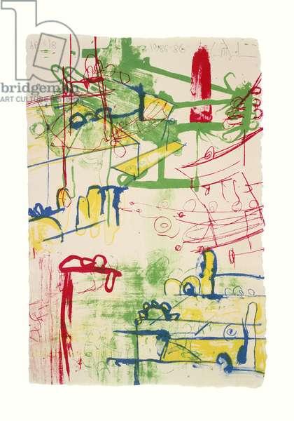 Color Message B, 1985-86 (four-colour litho on G. Amatruda Almalfi handmade paper)