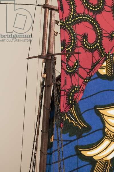 Detail from Wanderer, 2006 (wood, plexiglass, fabric, brass)