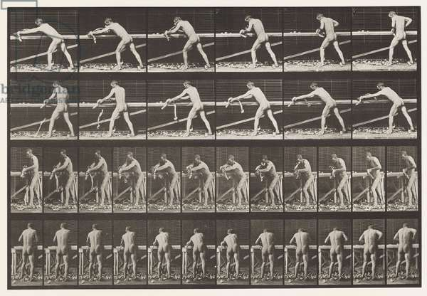 Plate 379. Carpenter, Planing a Board, 1872-85 (collotype on paper)