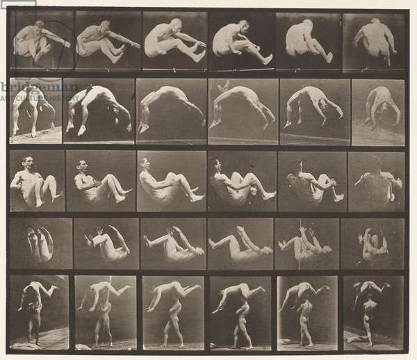 Plate 522. A, 97 Jumping; B, 98 Handspring; C, 98 Somersault, 1872-85 (collotype on paper)