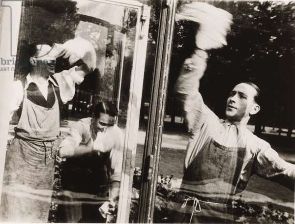 Window Cleaning in a Home on the Champs-Elysées, c.1934 (gelatin silver print)