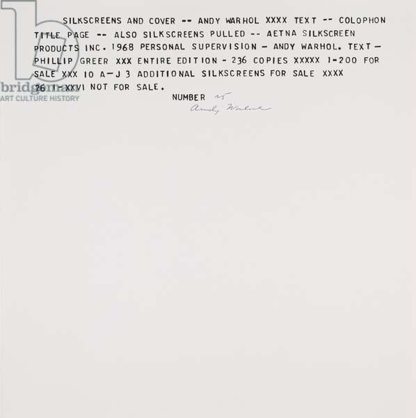 Flash-November 22, 1963 (colophon), 1968 (screenprint with Teletype text)