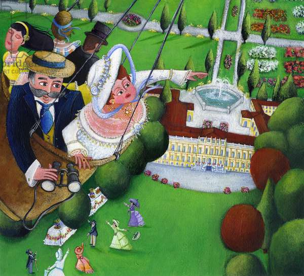 The balloon walk to see from the sky the park and the Villa reale, Monza, Italy Illustration 2013