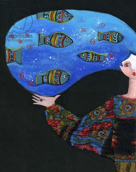 Young girl with fishes in her hair, seabed and underwater world Illustration 2013