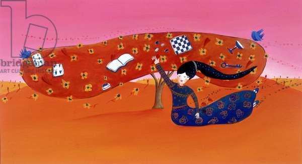 Young girl has the tree - illustration by Patrizia La Porta, 1999