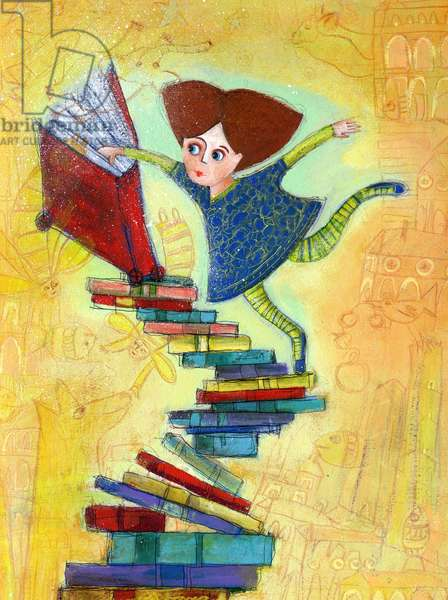 Passion of reading, little girl on a mountain of books populating her imagination with creatures and novel characters Illustration 2013