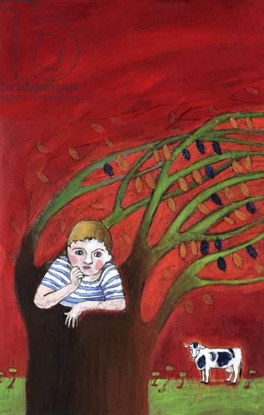 The loneliness of an orphan child, alone in a tree, the wind in the branches Illustration 2013