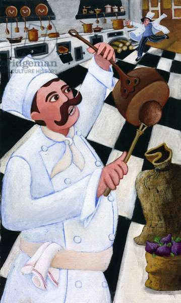 Catering: a chef tapping on pans to call his sous-chef late - A chef cook tapping pans to call his latecomer sous-chef - Illustration 2013