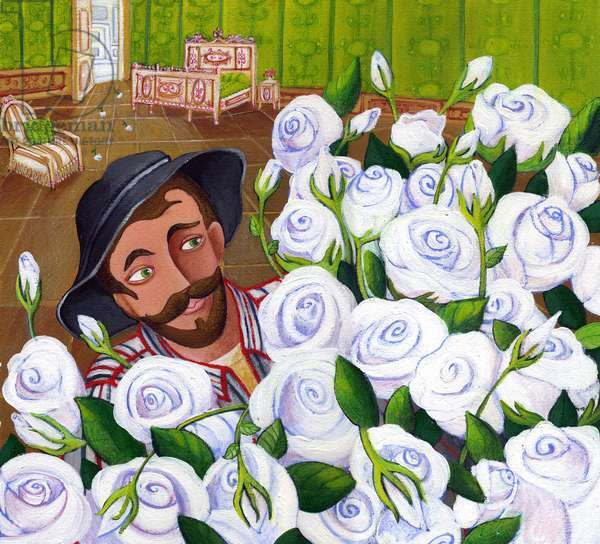 Gardener carrying flowers in the room of a rich owner - (Gardener brings flower to a rich lady) Illustration 2013