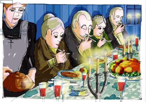 """Illustration for """""""" Babette's Feast"""""""" by Karen Blixen (Babette's Feast) Drawing by Patrizia Laporta"""