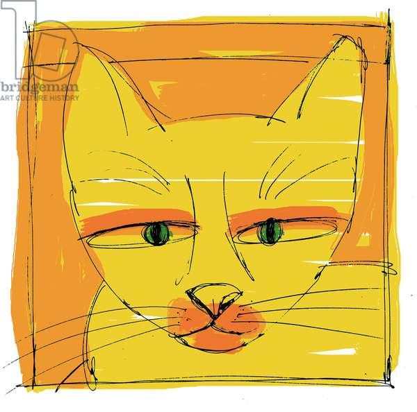 Portrait of a purring cat (A purring cat) Illustration 2013
