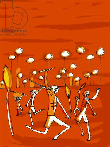 """Illustration by Patrizia La Porta for the novel """"Lord of the flies"""" by William Golding."""