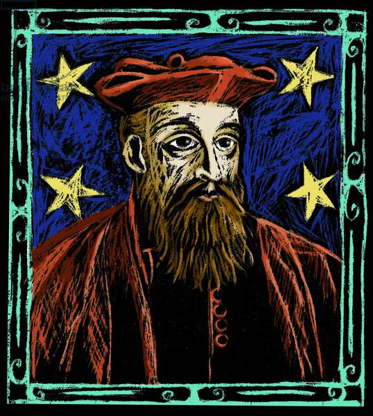 Portrait of Nostradamus. Illustration by Patrizia La Porta.