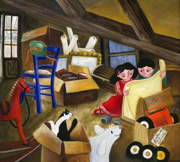 Kids discovering treasures and old stuff in boxes stored in the attic of the family house Illustration 2013
