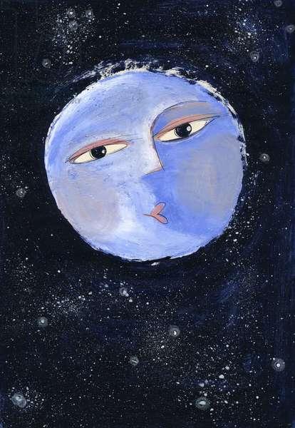 A smiling full moon Illustration 2013