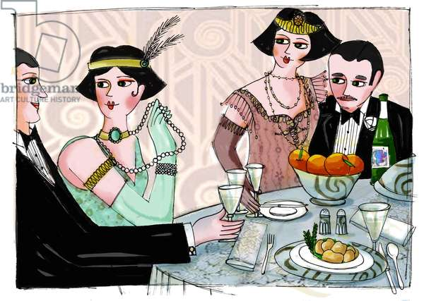 """Illustration depicting a worldly dinner in """"Gatsby the Magnificent"""""""" by American writer Francis Scott Fitzgerald (1896-1940) (The Great Gatsby) Drawing by Patrizia Laporta"""