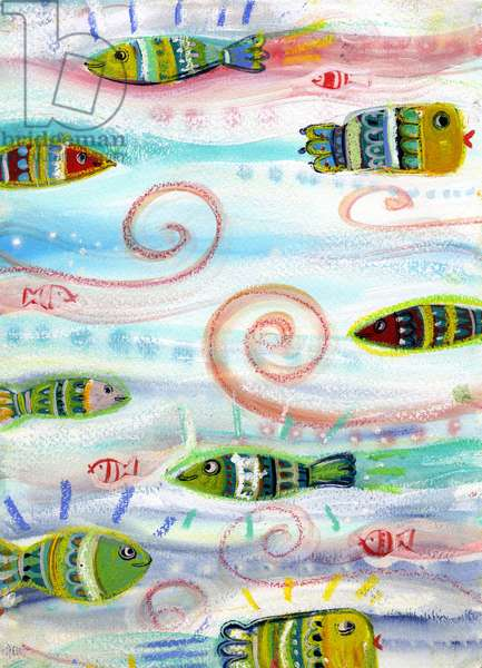 Fish, seabed (Fishes, seabed and underwater world) Illustration 2013