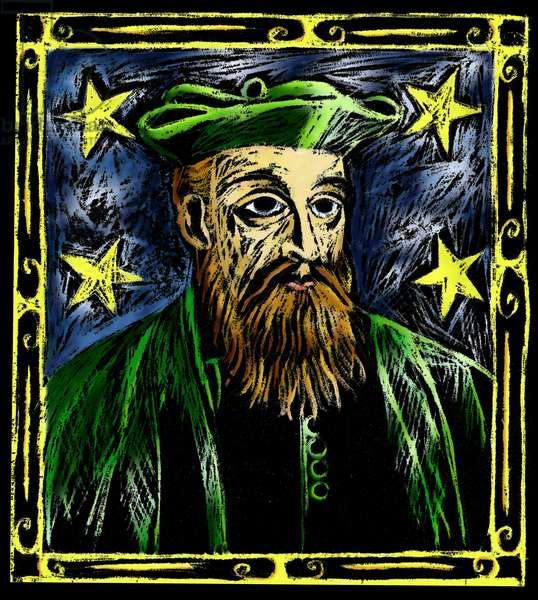 Portrait of Nostradamus, astrologer (1503 - 1566).