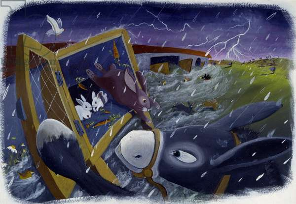 Animals and Noe's Ark during the Deluge, illustration by Patrizia La Porta.
