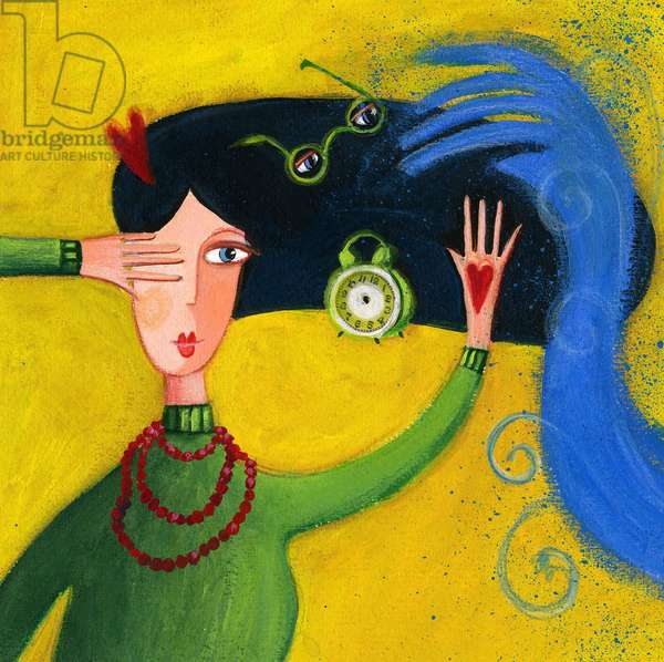 Woman trying to stay calm and balanced in front of the difficult times Illustration 2013