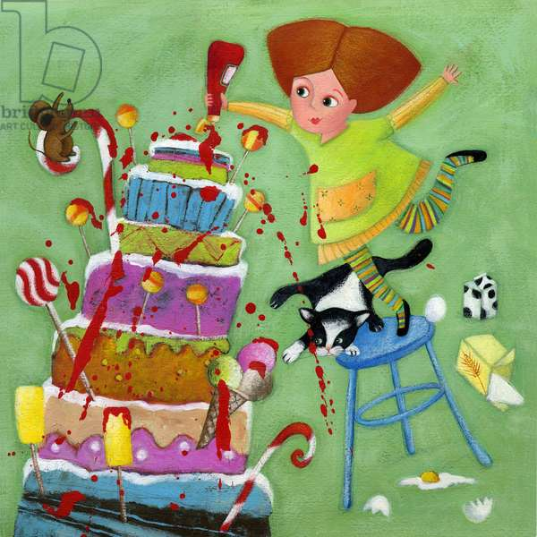 A little girl sprinkles with tomato sauce a birthday cake Illustration 2013