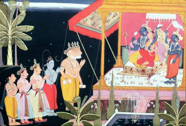 Vishnu 'The Preserver' with his consort, Lakshmi by his side (paint on paper)