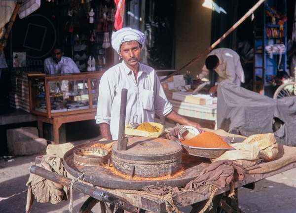 Food stall, Lahore, Pakistan (curry and chillies), 1969 (photo)
